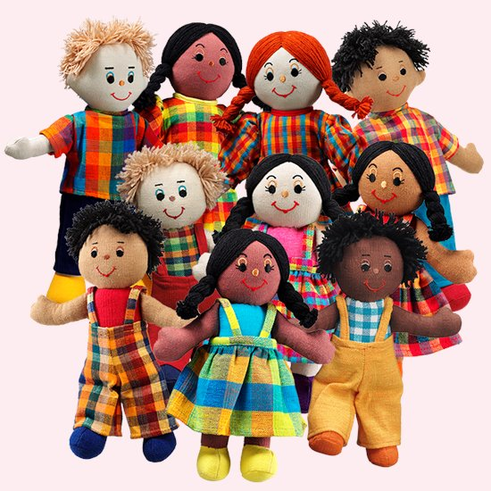 Ethnic Rag Doll Set of 10