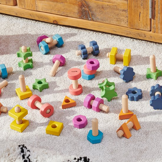 Rainbow Wooden Nuts and Bolts