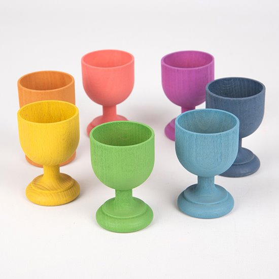 Rainbow Wooden Egg Cups
