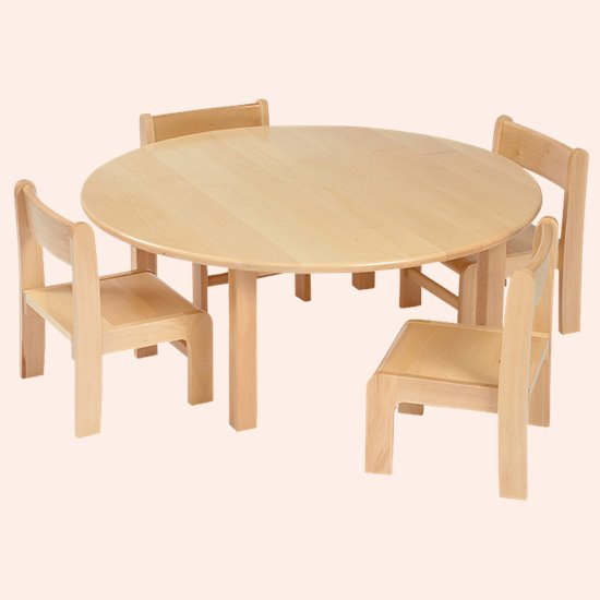 Chair Saver Set Round Solid Beech Top