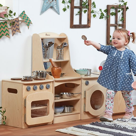 Toddler Kitchen - 4 piece set including Storage Unit