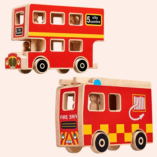 Wooden Bus and Fire Engine